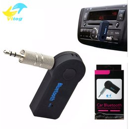 Wholesale Bluetooth Aux - Universal 3.5mm Bluetooth Car Kit A2DP Wireless FM Transmitter AUX Audio Music Receiver Adapter Handsfree with Mic For Phone MP3 Retail Box