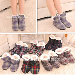 Wholesale Grid Floor - Wholesale- Female Square Grid at Home Indoor Slippers Soft Outsole Indoor Shoes Winter Warm Cotton Padded shoes Large Size 7 Color Optional