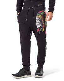 Wholesale Drawstring Top - SS17 NEW ARRIVE Top Quality Cotton High Street Printing Indian tribes Skulls PP18603-3 Tide Brand Fashion Designer Skinny Casual Mens Pants