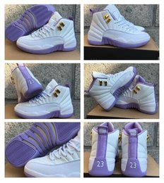 Wholesale Gs Style - 2017 new style air retro 12 XII GS Dark Purple Dust 12s white women basketball shoes sport sneakers wholesale discount free shipping 36-40