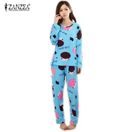 69908ecec0 New 2016 Autumn Women Lovely Cotton Pajamas Sets Warm Ladies Long Sleeve  Sleepwear Home Clothing Feminino Girls Nightgown M L XL