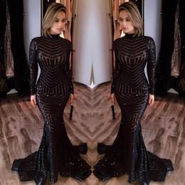 Robes michael costello en Ligne-2017 Michael Costello Robes de bal à manches longues Bling Bling Black Sequins Robe de soirée à manches longues