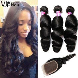 Wholesale Brazilian Virgin Remy Loose Wave - Peruvian Loose Wave Human Virgin Hair Bundles with Lace Frontal Closure 3pcs Remy Hair Extensions with 1pcs Weaves 4*4 inch Swiss Closure