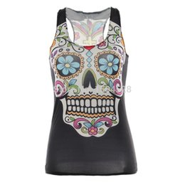 Wholesale Despicable Shirts - olso-0448 new 2014 summer women t-shirt mermaid RIBS 3D Vest tops Skull bone Despicable camisole Sexy tank skinny
