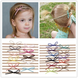 Wholesale Diy Kids Headbands - Fashion Baby Nylon Elastic Headbands Bow Kids Girls DIY Bowknot Hairbands Children Hair Accessories Simple cute headwear 22 Color KHA87