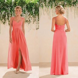 Wholesale Long Bridesmaid Dresses Slit - Coral Country Bridesmaid Dress Chiffon Side Slit Backles Women Wear Formal Maid of Honor Dress Wedding Party Gown Prom Evening Dress