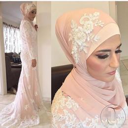 Wholesale Islamic Art Pictures - Mermaid High Neck Long Sleeves Lace Appliques Appliques Islamic Dubai Abaya Kaftan Hajib Muslim Evening Dresses Mother of the Bride Dress