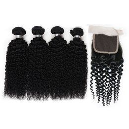 Wholesale Tight Curly Natural Hair Weave - Brazilian Curly 4 Bundles With Lace Closure Brazilian Virgin Hair With Closure Deep Wave Brazilian Hair Weave Bundles Human Hair Tight Curly