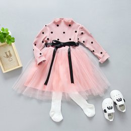 Wholesale Toddlers Polka Dots Dresses - Everweekend Girls Tutu Polka Dots Ruffles Dress Knitted Princess Pink Party Dress Autumn Toddler Children Fashion Holiday Dress