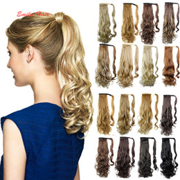 "Wholesale Wholesale Fake Hair Ponytail - Wholesale-Long Lady Woman Curly Wave Wrap Around ponytails Hair Extension 18"" Fake Hair Tail To Ponytail Hairpieces Ponytail Extensions"