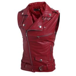 Wholesale White Motorcycle Vest - fashion 2016 summer sleeveless motorcycle waicoat men good quality leather vest men slim fit size 2xl