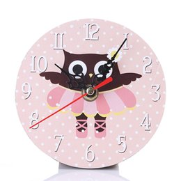 Wholesale Rustic Antique Decor - Sweet Pink Owl Small Clock Creative Cartoon Owl Rustic Silent Round Wall Clock Vintage Home Office Bedroom Decor 2Pcs lot