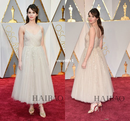academy awards vestidos Desconto 89º Annual Academy Awards Felicity Jones Vestidos No Tapete Vermelho 2019 Elegante Tulle No Tornozelo Comprimento Spaghetti Puffy Celebrity Dresses Custom Made