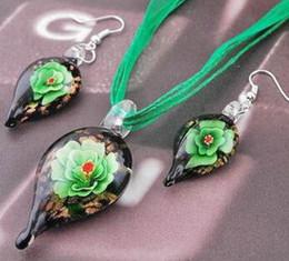Wholesale Wholesale Blown Glass Pendants - Teardrop glitter lampwork pendant blown venetian murano glass pendants necklaces and earrings sets Fashion jewelry in bulk 24 pcs free shipp