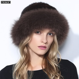 Wholesale Genuine Mink Hat - Wholesale- Women Rushed Limited Adult Solid New Fur Hats For Winter Genuine Mink Cap With Fox Pom Poms Knitted Beanies 2017 Sale