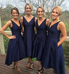 Wholesale Navy Blue Formal Dress Juniors - 2017 Garden Short High Low Bridesmaid Dresses With Pockets Navy Blue Cheap V-Neck Pleats Maid Of Honor Gowns Formal Junior Bridesmaids Dress