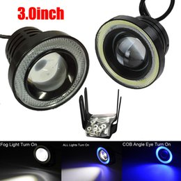 Wholesale Halo Led Projector - 3.0 Inch Car Fog Light COB LED Projector White Halo Ring DRL Driving Bulbs