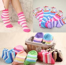 Wholesale Women Color Hosiery - Ladies Fulffy Socks stripe Women Fuzzy Socks Winter warm Towel Candy Color Thick Floor Socks Hosiery Plush sock KKA2731