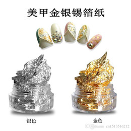 Wholesale Sticker Golden Nail - 10 set DIY Manicure accessories Boxizhi Silver paper Manicure foil stickers Nail Sticker Golden silvery Nail Glitter