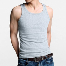 Wholesale Beater Tank - Wholesale- XL XXL XXL Premium Sleeveless Cotton Soft Solid Vest Beater Ribbed Casual Type Mens Tank Tops Gray