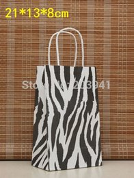 Wholesale Wholesale Zebra Shopping Bags - Wholesale-10PCS zebra gift paper bag with handle 21X13X8cm  shopping bags  Christmas packing bag  kraft print paper bags Excellent quality