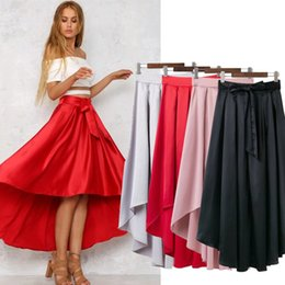 Wholesale long dresses for dinner - 2017 Fashion Hi-Low Long Skirts Sash Ribbon A Line Zipper Bust Skirts Formal Dresses Evening For Dinner Party SML