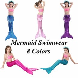 Wholesale Fish Bathing Suits - Kids Mermaid Swimwear Girls Mermaid Tail Swimsuit Bikini Set Fish Scale Top Brief Dresses Clothing Set Bathing Suit Beachwear OOA1972