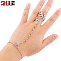 encantadora al por mayor para hombre Rebajas Al por mayor-SHIJIE precioso anillos de cristal para las mujeres Punk oro / color plata anillo de la hoja para hombre Bijoux Bague Femme joyería de moda accesorios regalos