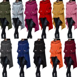 Wholesale Sleeves Irregular Blouse - Fashion Hoodies Irregular Long Sleeve Jackets Women Solid Casual Coat Autumn Blouses Sweatshirts Pullover Outwear Women Clothes KKA2725