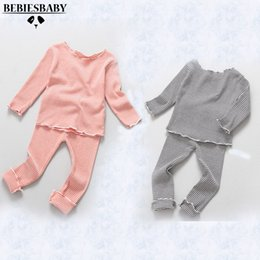 Wholesale Winter Pajama Baby - Wholesale- 2016 Autumn New Style Baby Clothes Pajama Sets Newborn Baby Girl 2Pcs Sets Clothes Shirt Pant Boys Suit Striped Underwear Sets
