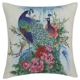 Wholesale Peacock Pillow Covers - Wholesale- Brand New Peacock Peafowl Tail Flower Square Cotton Linen Throw Pillow Case Pillowcase Cushion Homes Pillow Covers Shams