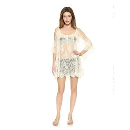 Wholesale Lace Bathing Suits - Swimwear Cover-Up Sexy bathing suit Lace Sarong Tunic Off Shoulder Lace Mini Dress Swimsuit Cangas Crochet Bikini Beach off shoulde Cover Up