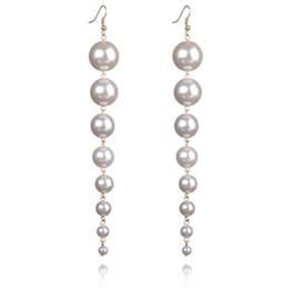 Wholesale Pearl Alphabet - New Trendy Created 16cm Big Long Drop Fashion Dangle Pearls Earrings For Women Fashion Jewelry Earrings