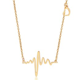 Wholesale Heart Beating Necklace Wholesale - Wholesale-Fine jewelry 316L Stainless Steel Heart Beat Pendant Heartbeat Statement Necklace Body Chain ECG Necklace