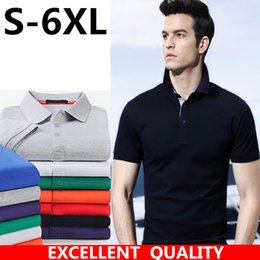 Wholesale Mens Wholesale Polo - Summer Polo Homme men's Brand embroidery short-sleeve lapel cotton polo mens solid breathable polo shirts Casual Style Polos Plus size 6XL