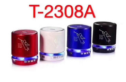 Wholesale Material Computer - HOT T2308A Angel Bluetooth LED Speakers Computer Phone MP3 Player Speaker Metal Material Stereo Hifi Super Bass Subwoofer FM radio