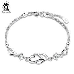 Wholesale Ring Double Silver - Orsa Jewelry Charm Bracelet,925 Sterling Silver Bracelet,Double Heart Charm with Austria Crystal Bracelet OB05