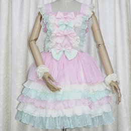 Wholesale Sweet Cotton Candy - DE Quality Customized Theme Costume Sweet Lolita Dress Plus Size Candy Colorful Style with Cute Bows Elastic Back Closure