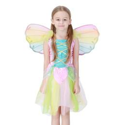 Argentina New Hot Kids Fairy Angel Wings Fiesta de Halloween cosplay Disfraces tamaño disfraz para niños Color del arco iris Al Por Mayor PS043 Suministro