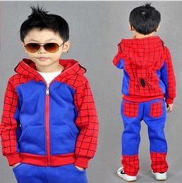 Wholesale Kids Spiderman Jacket Red - Spiderman boys clothing set Spider man children sport suit hooded jacket pants baby sweatshirt kids coat spring autumn clothes