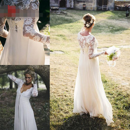 Wholesale Dropped Waist Chiffon Wedding Dress - 2016 Bohemian Long Sleeves Wedding Dress V Neck Empire Waist Lace Chiffon Floor Length Vintage Beach Wedding Dress Bridal Gowns