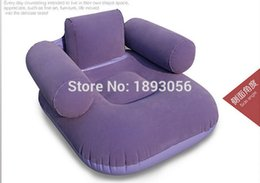 Wholesale Inflatable Mattresses - Wholesale- Camping Mat Living Room Furniture 2 Air Chamber Safety Red Purple Flocking Chair 92x88x63cm Comfort Leisure PVC Inflatable Sofa