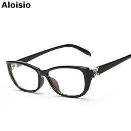 Wholesale Korean Retro Eyeglasses - Wholesale- Aloisio Korean Women Eyewear Retro Plain Glasses High Grade Eyeglasses Frames Brand Designer Square Frame AL338