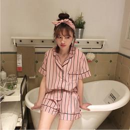 Großhandel-Sommer-Pyjama-Sets für Frauen Nachtwäsche 2016 Neue 100%  Baumwolle Kurzarm-Oberteile kurze Hosen Lounge-Set a804303b7