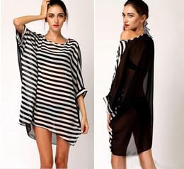 Wholesale Striped Beach Cover Ups - 2017 New Women Chiffon Dress Black White Stripes Beachwear Beach Bikini Cover Up Tops Oversized Swimwear Smock Blouse