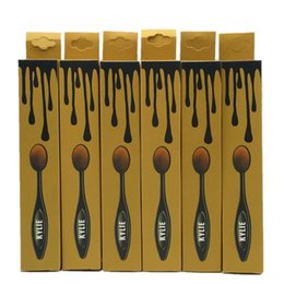 Wholesale Toothbrush Wholesalers - Kylie Brushes Golden Oval Makeup Brushes Eyeshadow Kylie Cosmetics Jenner Lip Brushes Toothbrush Makeup Brow Foundation Face Brush