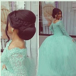 Wholesale Sweets Scoop - Plus Size Long Sleeve Quinceanera Dress Ball Gown Prom Dresses Beaded Sequins Sweet 16 Dresses Lace Applique Mint vestidos de quinceanera
