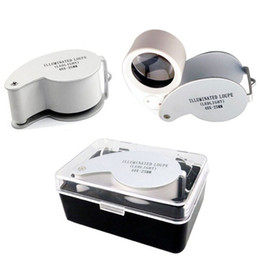 Wholesale Magnifying Glass Illuminated - Wholesale- Mini Retractable Eye Loupe Magnifying Illuminated LED Glass Lens Magnifying Magnifier Jewelers Watches Portable Eye Loupe