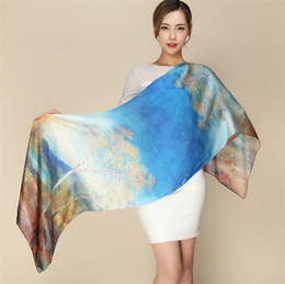 Wholesale Digital Print Silk Scarves - Wholesale- [Ode To Joy]100% pure silk women scarf digital printed scarves lady's long foulard femme bandanas shawl hand rolling