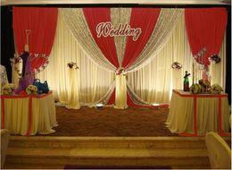Wholesale Red Orange Curtains - 3m*4m 3m*6m 4m*8m Wedding Backdrop Curtain Celebration Stage Performance Background Drape Silver Sequins Wedding Props Satin Drape curtain